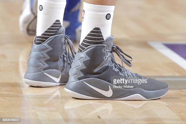 The shoes belonging to Omri Casspi of the Sacramento Kings in a game against the New York Knicks on December 9 2016 at Golden 1 Center in Sacramento...