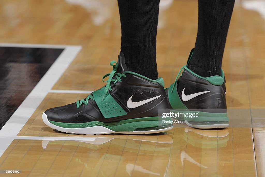 The shoes belonging to Paul Pierce #34 of the Boston Celtics in a game against the Sacramento Kings on December 30, 2012 at Sleep Train Arena in Sacramento, California.
