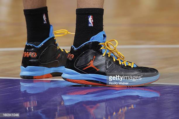 The shoes belonging to Russell Westbrook of the Oklahoma City Thunder in a game against the Sacramento Kings on January 25 2013 at Sleep Train Arena...