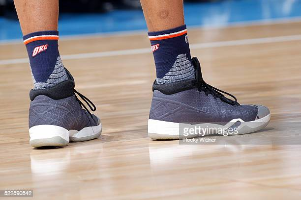 The shoes belonging to Russell Westbrook of the Oklahoma City Thunder in a game against the Sacramento Kings on April 9 2016 at Sleep Train Arena in...