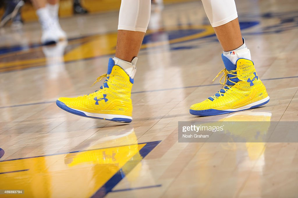 The shoes belonging to Stephen Curry #30 of the Golden State Warriors in a game against the Utah Jazz on November 21, 2014 at Oracle Arena in Oakland, California.