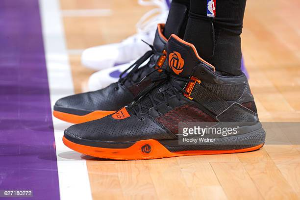 The shoes belonging to Steven Adams of the Oklahoma City Thunder in a game against the Sacramento Kings on November 23 2016 at Golden 1 Center in...