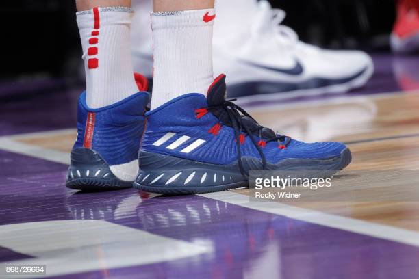 The shoes belonging to Tomas Satoransky of the Washington Wizards in a game against the Sacramento Kings on October 29 2017 at Golden 1 Center in...