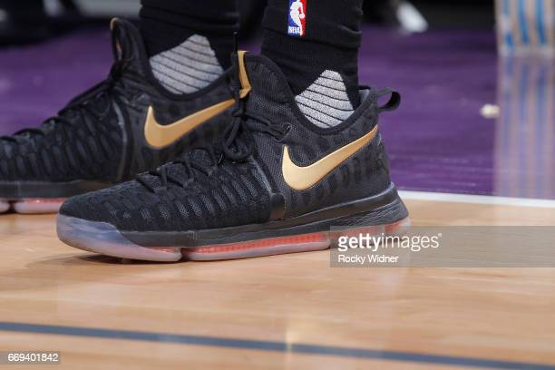 The shoes belonging to Tyler Ulis of the Phoenix Suns in a game against the Sacramento Kings on April 11 2017 at Golden 1 Center in Sacramento...