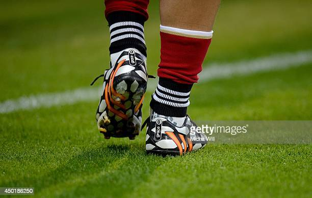 The shoes Germanys of Mesut Oezil showing his girlfriends name 'Grace' can be seen during the international friendly match between Germany and...