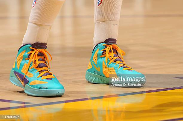 The shoes of a Los Angeles Sparks player are shown during a game against the New York Liberty at Staples Center on June 21 2011 in Los Angeles...