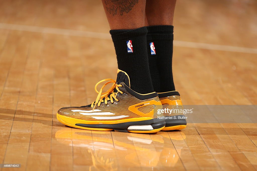 The shoes of an Indiana Pacers player against the New York Knicks on March 7, 2015 at Madison Square Garden in New York City.