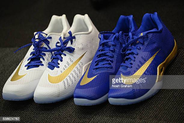 The shoes of Andre Iguodala of the Golden State Warriors before Game Two of the 2016 NBA Finals against the Cleveland Cavaliers on June 5 2016 at...