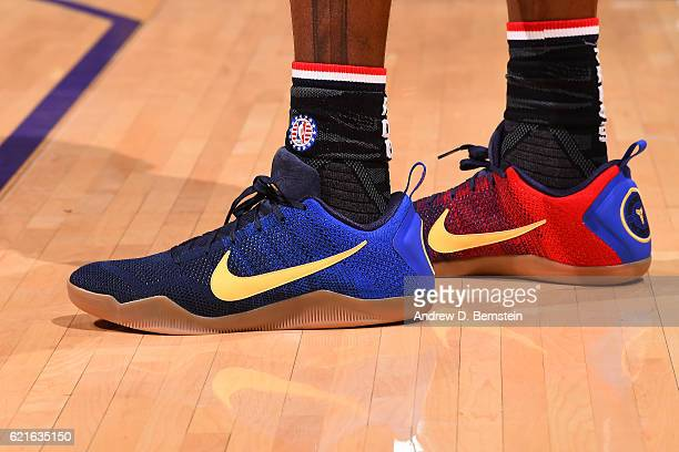 The shoes of Andre Iguodala of the Golden State Warriors during the game against the Los Angeles Lakers on November 4 2016 at STAPLES Center in Los...