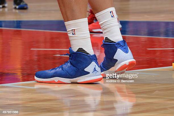 The shoes of Blake Griffin of the Los Angeles Clippers are seen during the game against the Golden State Warriors on November 19 2015 at STAPLES...