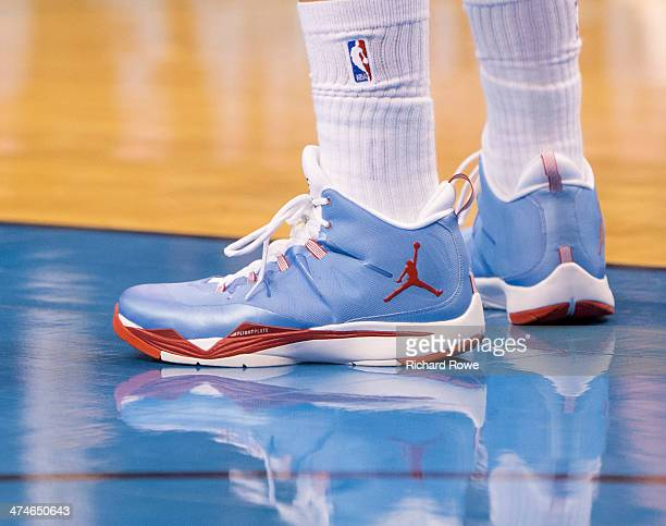 The shoes of Blake Griffin of the Los Angeles Clippers during the game against the Oklahoma City Thunder at the Chesapeake Arena on February 23 2014...
