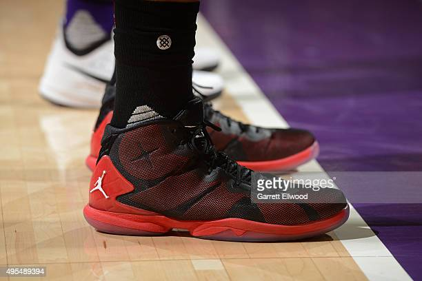 The shoes of Blake Griffin of the Los Angeles Clippers during the game against the Sacramento Kings on October 28 2015 at the Sleep Train Arena in...