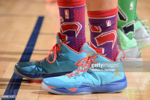The shoes of Blake Griffin of the Western Conference AllStars during the 2014 NBA AllStar Game as part of the 2014 AllStar Weekend at Smoothie King...
