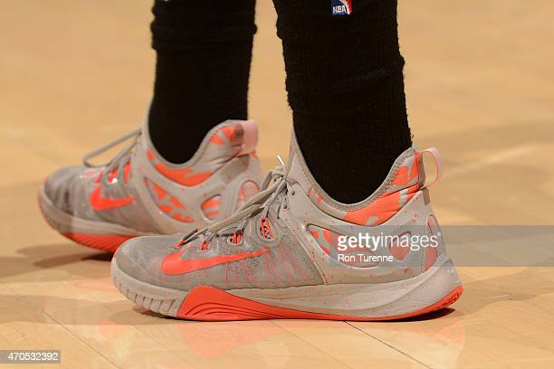 The shoes of Bradley Beal of the Washington Wizards during Game One of the Eastern Conference Quarterfinals against the Toronto Raptors during the...