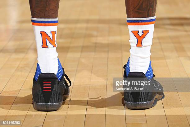 The shoes of Brandon Jennings of the New York Knicks during the game against the Memphis Grizzlies on October 29 2016 at Madison Square Garden in New...