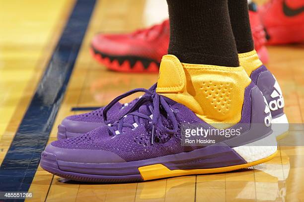 The shoes of Candace Parker of the Los Angeles Sparks during the game against the Indiana Fever at Bankers Life Fieldhouse on August 26 2015 in...
