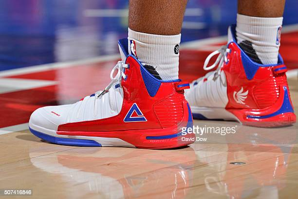 The shoes of Carl Landry of the Philadelphia 76ers during the game against the Atlanta Hawks at the Wells Fargo Center on January 7 2016 in...