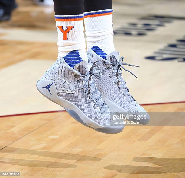 The shoes of Carmelo Anthony of the New York Knicks during the game against the Cleveland Cavaliers on October 25 2016 at Quicken Loans Arena in...