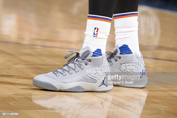 The shoes of Carmelo Anthony of the New York Knicks during the game against the Memphis Grizzlies on October 29 2016 at Madison Square Garden in New...