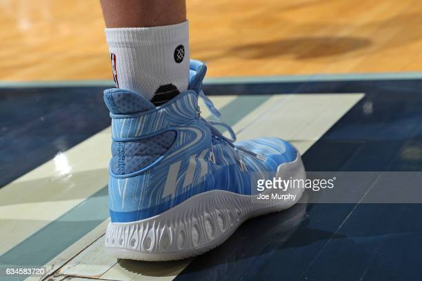 The shoes of Chandler Parsons of the Memphis Grizzlies during the game against the Phoenix Suns on February 8 2017 at FedExForum in Memphis Tennessee...