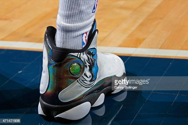 The shoes of Charlie Villanueva of the Dallas Mavericks during Game Three of the Western Conference Quarterfinals of the 2015 NBA Playoffs against...
