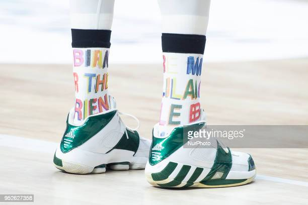 The shoes of Chris Singleton of Panathinaikos Superfoods during the Turkish Airlines Euroleague Play Offs Game 4 between Real Madrid v Panathinaikos...