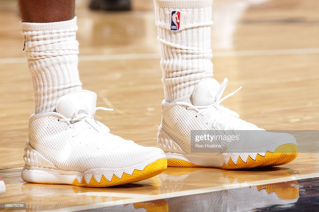 The shoes of C.J. Miles #0 of the Indiana Pacers during the game against the Milwaukee Bucks on March 12, 2015 at Bankers Life Fieldhouse in Indianapolis, Indiana.
