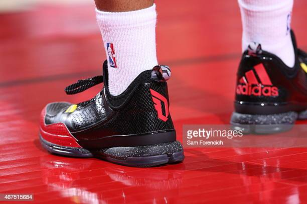 The shoes of Damian Lillard of the Portland Trail Blazers during the game against the Golden State Warriors on March 24 2015 at the Moda Center in...