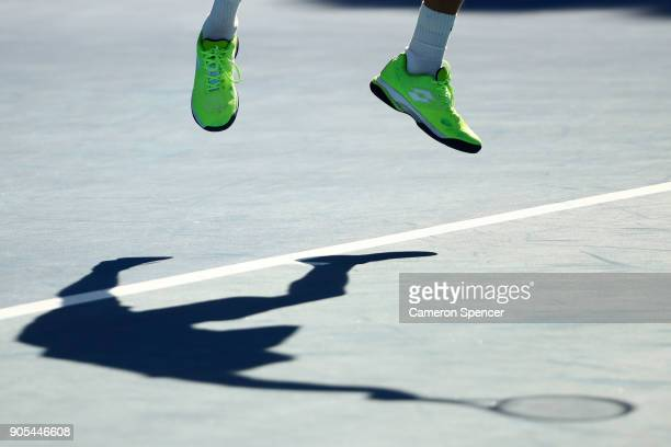 The shoes of Daniil Medvedev of Russia are seen in his first round match against Thanasi Kokkinakis of Australia on day two of the 2018 Australian...