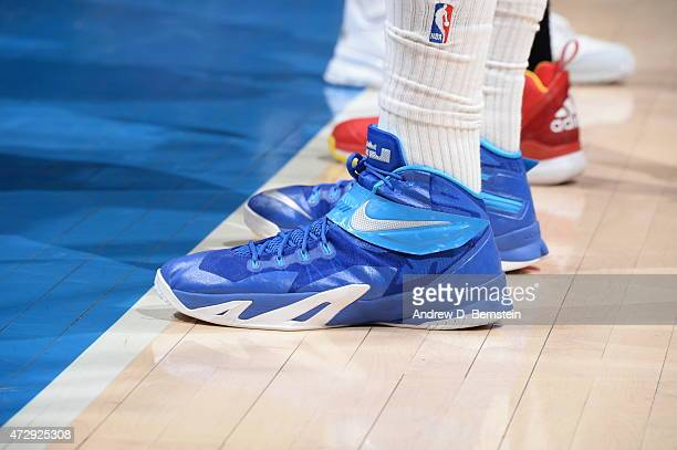 e4fdb330ddff13 The shoes of DeAndre Jordan of the Los Angeles Clippers as he stands on the  court