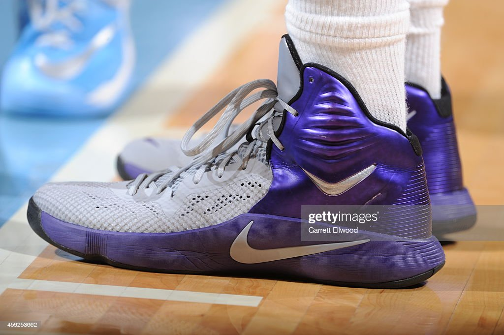 The shoes of DeMarcus Cousins #15 of the Sacramento Kings as he stands on the court during a game against the Denver Nuggets on November 3, 2014 at the Pepsi Center in Denver, Colorado.