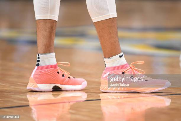 The shoes of Denver Nuggets guard Jamal Murray as they take on the Houston Rockets at Pepsi Center on February 25 2018 in Denver Colorado NOTE TO...