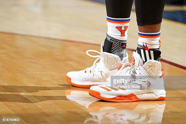 The shoes of Derrick Rose of the New York Knicks during the game against the Cleveland Cavaliers on October 25 2016 at Quicken Loans Arena in...