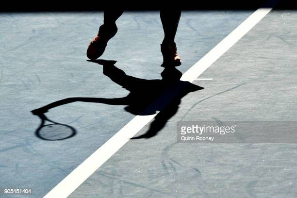 The shoes of Destanee Aiava of Australia are seen in her first round match against Simona Halep of Romania on day two of the 2018 Australian Open at...