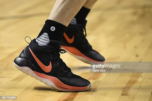 The shoes of Devin Booker of the Phoenix Suns during the game against the San Antonio Spurs as part of NBA Global Games at Arena Ciudad de Mexico on...
