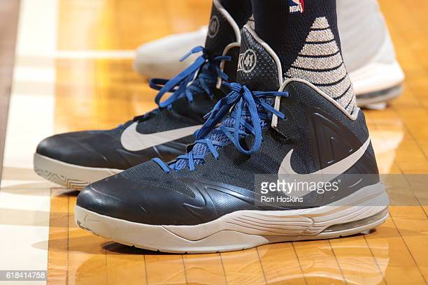 The shoes of Dirk Nowitzki of the Dallas Mavericks are seen during the game against the Indiana Pacers on October 26 2016 at Bankers Life Fieldhouse...