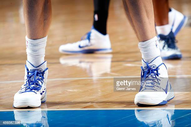 The shoes of Dirk Nowitzki of the Dallas Mavericks as he stands on the court during a game against the Philadelphia 76ers on November 13 2014 at the...