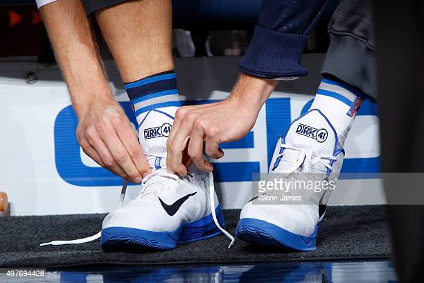 The shoes of Dirk Nowitzki of the Dallas Mavericks before the game against the Los Angeles Lakers on November 13 2015 at the American Airlines Center...