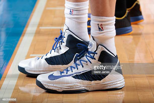 The shoes of Dirk Nowitzki of the Dallas Mavericks during the game against the Golden State Warriors on December 13 2014 at the American Airlines...