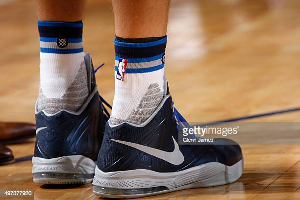 The shoes of Dirk Nowitzki of the Dallas Mavericks during the game against the Los Angeles Clippers on November 11 2015 at the American Airlines...