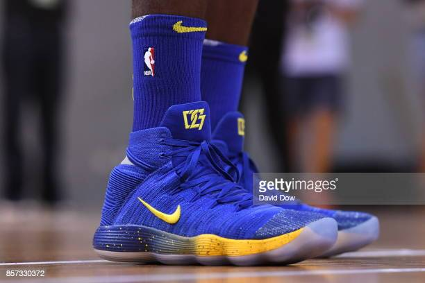 The shoes of Draymond Green of the Golden State Warriors during practice and media availability at Shenzhen Gymnasium as part of 2017 NBA Global...