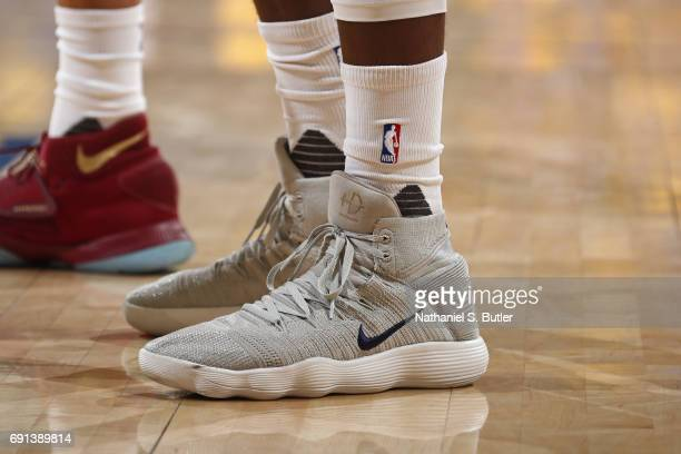 The shoes of Draymond Green of the Golden State Warriors in Game One of the 2017 NBA Finals against the Cleveland Cavaliers on June 1 2017 at Oracle...