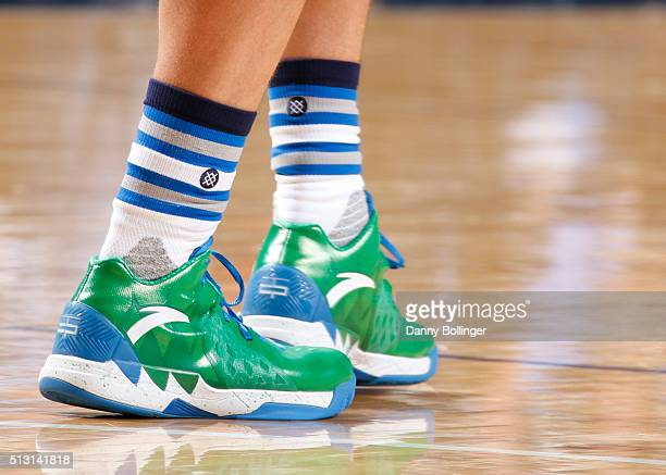 The shoes of Dwight Powell of the Dallas Mavericks during the game against the Philadelphia 76ers on February 21 2016 at the American Airlines Center...
