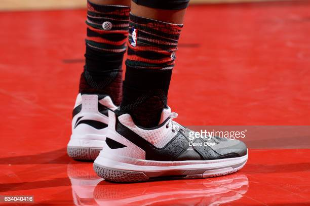 The shoes of Dwyane Wade of the Chicago Bulls during the game against the Houston Rockets on February 3 2017 at the Toyota Center in Houston Texas...