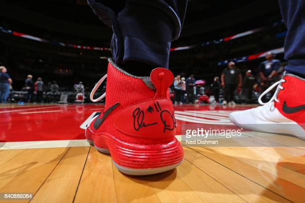 The shoes of Elena Delle Donne of the Washington Mystics before a WNBA game against the Connecticut Sun on August 29 2017 at the Verizon Center in...
