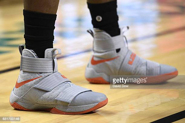 The shoes of Eric Bledsoe of the Phoenix Suns during the game against the San Antonio Spurs as part of NBA Global Games at Arena Ciudad de Mexico on...