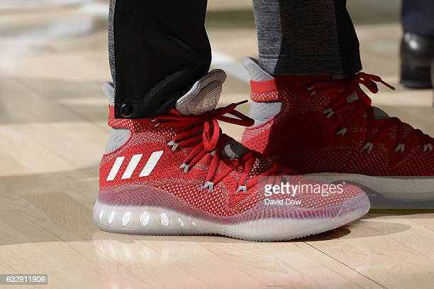 The shoes of Eric Gordon of the Houston Rockets during the game against the Philadelphia 76ers at Wells Fargo Center on January 27 2017 in...