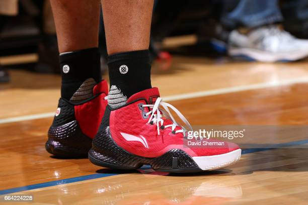 The shoes of Evan Turner of the Portland Trail Blazers during the game against the Minnesota Timberwolves at the Target Center in Minneapolis...