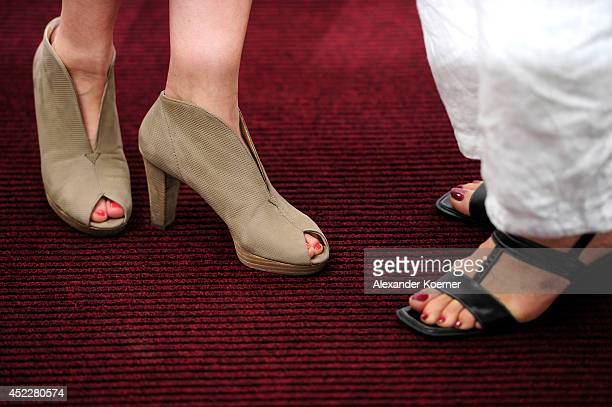The shoes of Gisa Zach and Nina Hoger are pictured during the offical Television programmpreview of german television production RTL on July 17 2014...