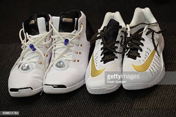 The shoes of Ian Clark of the Golden State Warriors before Game Two of the 2016 NBA Finals against the Cleveland Cavaliers on June 5 2016 at ORACLE...